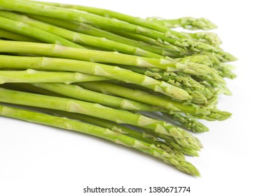 Fresh asparagus on white background.