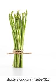 fresh asparagus on white background