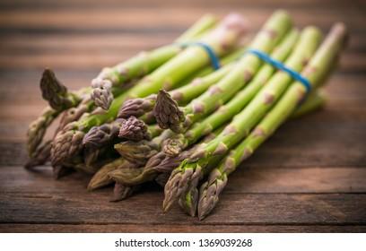 Fresh asparagus on the wooden table