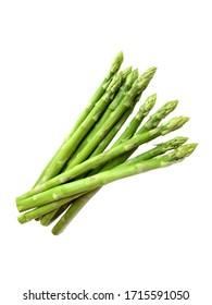 Fresh asparagus over white background.