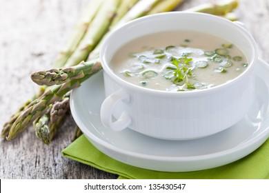 fresh asparagus soup in a bowl