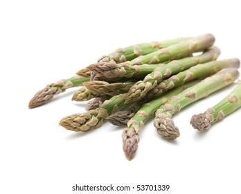 fresh asparagus spears isolated on white