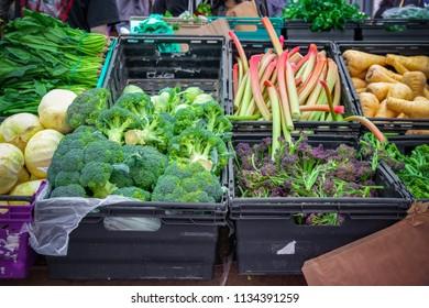 Fresh assorted vegetables on display at Broadway market, a street market in Hackney, East London