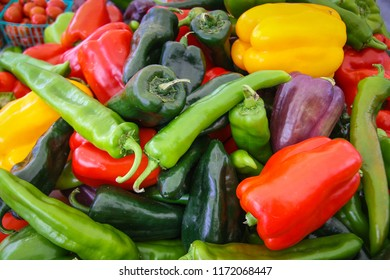 Fresh Assortment of Multi-Colored Peppers at the Local Farmer's Market