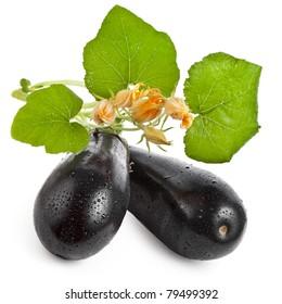 fresh aubergine eggplant isolated on white background