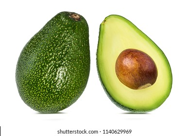 Fresh avocado isolated on white background with clipping path
