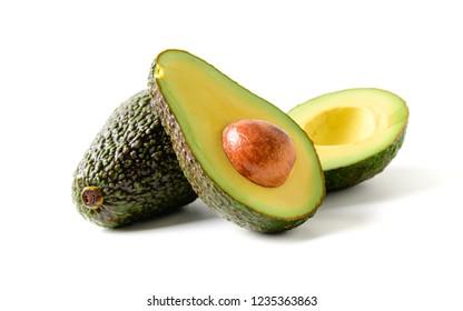 Fresh avocado. Sliced avocado fruit isolated on white background,