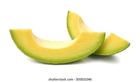 fresh avocado sliced on white background