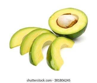 fresh avocado slices isolated on white