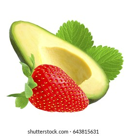 Fresh avocado whit strawberry isolated on white background as package design element.