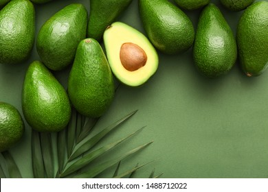 Fresh avocados and palm leaves on color background