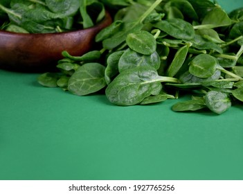 Fresh baby spinach leaves on a green background frame stock images. Fresh spinach in a wooden bowl on a green background with copy space for text. Healthy leafy vegetables stock photo