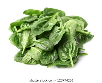 Fresh baby spinach on a white background
