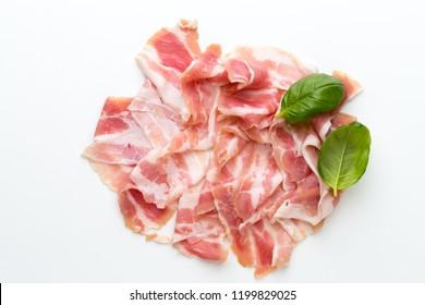 Fresh bacon on the white background.