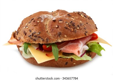 Fresh bagel sandwich isolated over white background