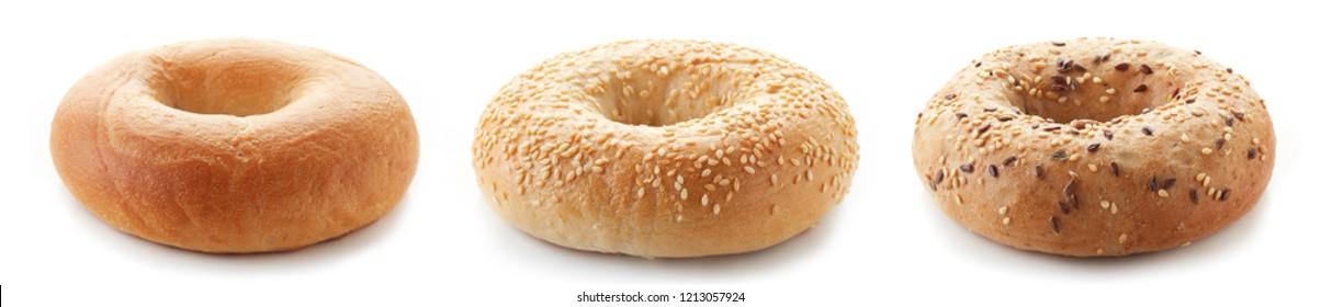 Fresh bagels isolated on white background
