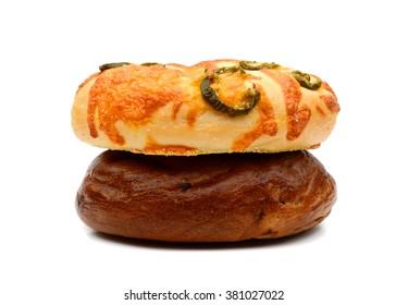 fresh bagels isolated on white
