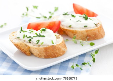fresh baguette and cream cheese