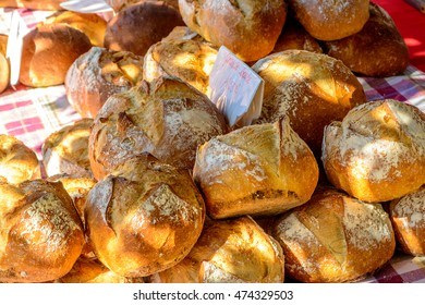 Fresh baked bread on outdoor morning market in France