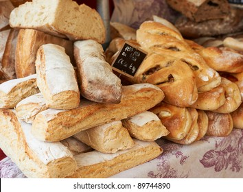 Fresh baked bread on table of Provence market, France