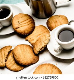 Fresh baked butter cookies and coffee