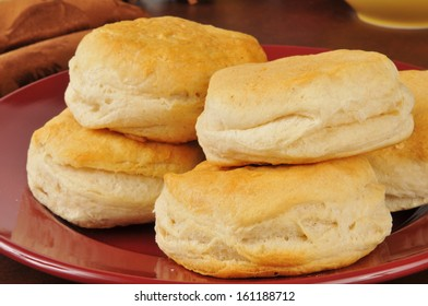 Fresh baked buttermilk biscuits on a plate