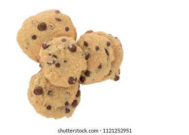 fresh baked chocolate chip cookie pile isolated white background
