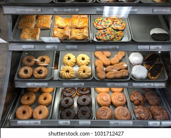 Fresh baked donut section at Publix grocery store Saint Augustine, Florida USA. February 19,  2018