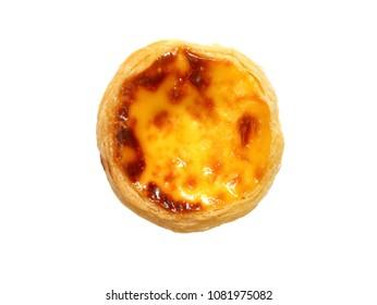 Fresh baked egg tart or custard tart (pastel de nata) isolated on white background