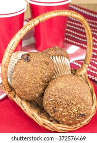 Fresh baked Flax muffins in a basket