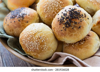 Fresh baked homemade buns with sesame