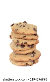 fresh baked homemade chocoate chip cookies isolated white background