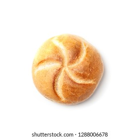 Fresh baked Kaiserbroetchen (German for emperor bread roll) isolated on white