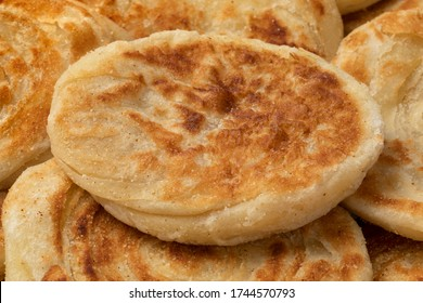 Fresh baked meloui, Moroccan pancakes close up full frame