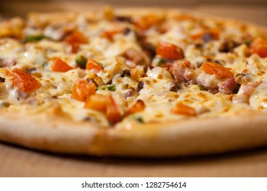 Fresh baked  pizza, shallow depth of field