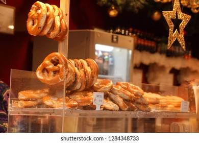 Fresh baked pretzels at the Christmas market,Strasbourg, France