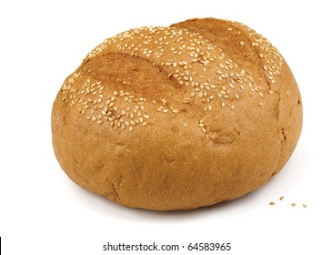 Fresh baked sesame bun isolated on white