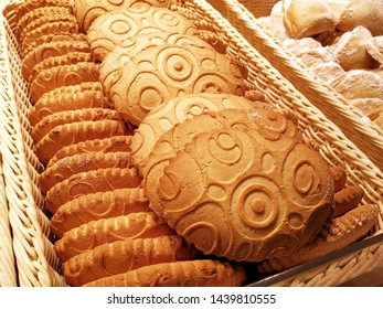 Fresh baked shortbread cookies, delicious bakery products in bakeshop, selective focus