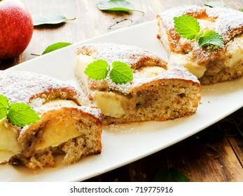Fresh baked sweet apple pie. Shallow dof.