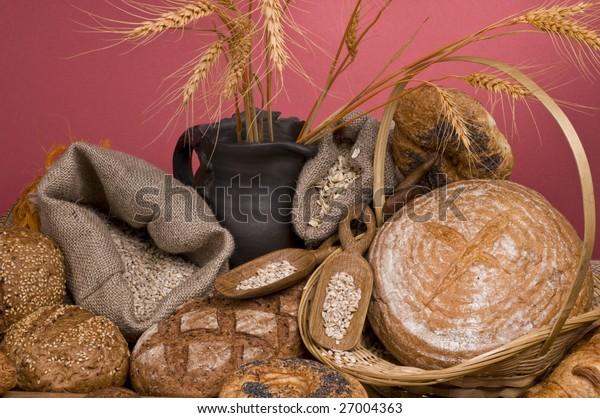 Fresh baked  tasty bread food still-life