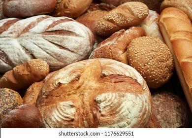 fresh baked various bread