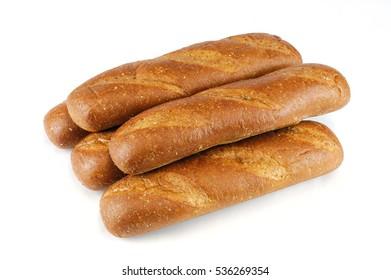 fresh baked wheat hoagie bread isolated on white background