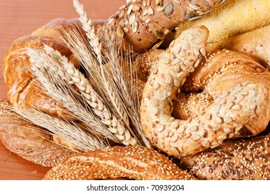 Fresh bakery products and wheat.