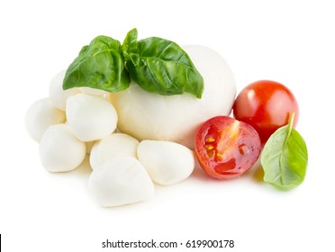 Fresh balls of mozzarella cheese with basil leaves and cherry tomato isolated on white background