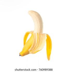 Fresh banana slice isolated on white background