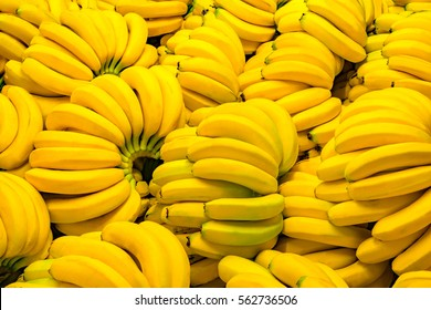 Fresh banana yellow background in the fruit market.