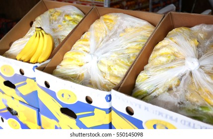 Fresh bananas in cardboard boxes on market