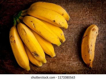 fresh bananas in table