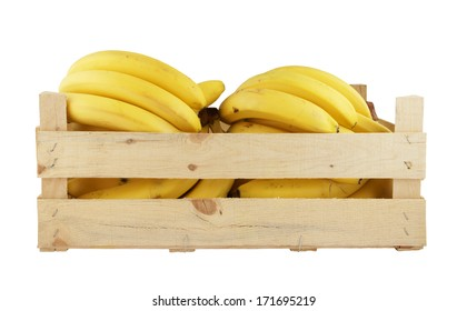 Fresh bananas in wooden box isolated on white background
