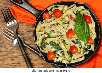Fresh Basil Fettuccine with Sweet Corn and Cubanelle Pepper